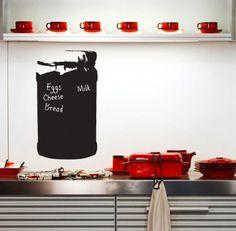 Chalkboard wall sticker kitchen jam jar blackboard