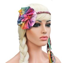 Flower Hippie Headband Tie Dye Ruffle Flower by GlamourDamaged, $22.00