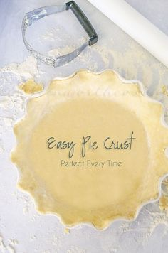 Easy Pie Crust - Perfect Every Time! c all purpose flour tsp salt tsp granulated sugar cup cold butter stick) cut into cubes) cup ice water *Recipe is for 1 bottom crust. Homemade Pie Crust Easy, Easy Pie Crust, Pie Crust Recipes, Pie Fillings, Homemade Recipe, Just Desserts, Delicious Desserts, Yummy Food, Party Desserts