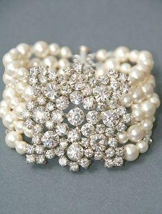 Bridal Bracelet Vintage Style Rhinestone and Pearl Statement Bracelet Wedding Jewelry Pearl Crystal Cuff Bracelet Wedding Accessories Bridal Bracelet, Wedding Jewelry, Pearl Jewelry, Jewelry Bracelets, Jewlery, Pearl Bracelets, Diamond Bracelets, Pearl Rings, Bangles