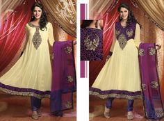 Purple Full Sleeve Faux Georgette Long Anarkali Salwar Kameez 19270