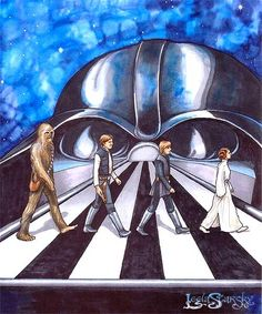 The Beatles, Abbey Road: Star Wars Abbey Road, Star Wars Art, Star Trek, Han And Leia, Famous Artwork, Art Assignments, Love Stars, Chewbacca, Princess Leia