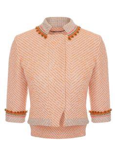 Matthew Williamson - Neon Tweed Embroidered Nehru Fitted Jacket £785.00
