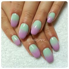 Gelish Spring 2014 colours pastel ombré on sculpted squaletto gel nails! ♥ Follow me on Instagram @hakyree_