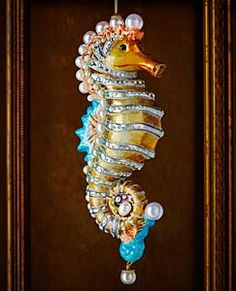 JAY STRONGWATER Seahorse Christmas Ornament -- Have a look at this excellent item. (This is an affiliate link). Handcrafted Christmas Ornaments, Glass Christmas Tree Ornaments, Christmas Tree Toppers, Christmas Decorations, Beach Decorations, Nautical Christmas, Beach Christmas, Christmas Crafts, Christmas Ideas