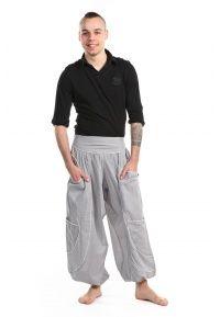 Pantalon sarouel baggy aladin homme femme gris clair - K1721 - 100% pur coton léger du Népal. Mi-saison Printemps-été.