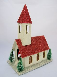 Putz Christmas Church Made in Japan with Glitter a by ellesh71
