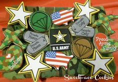 These cookies for an Army family look amazing — especially the camo! These cookies for an Army family look amazing — especially the camo! Camo Cookies, Iced Cookies, Cut Out Cookies, Royal Icing Cookies, Cupcake Cookies, Sugar Cookies, Cupcakes, Army Birthday Parties, Army's Birthday