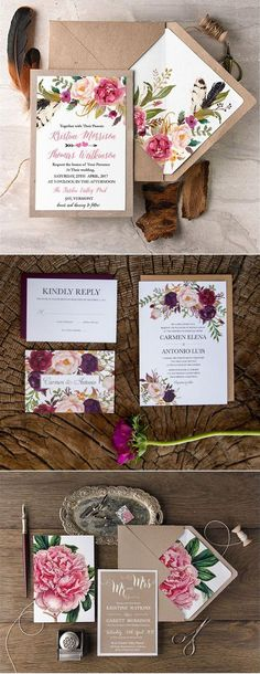 Big floral wedding invitation trends with matching envelope liners.