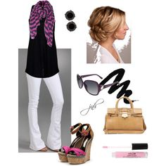 striped scarf, created by jill-hammel on Polyvore