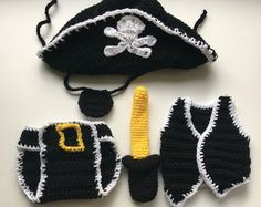 Instant Download Crochet Newborn Pirate Hat Eye por AMKCrochet