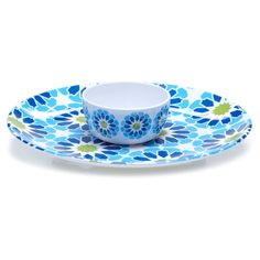 Certified International Hand-painted Mediterranean 2-piece Melamine Chip and Dip Serving Set