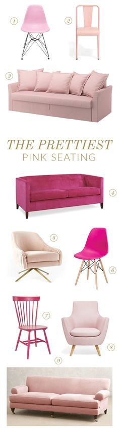 Pink couch   Pink Chairs   Pink Seating Ideas