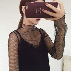 Dute - Long-Sleeved Fishnet Top