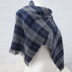 A beautiful soft bluey grey colour 1980s acrylic wool scarf. This vintage check plaid mens or ladies scarve is in excellent condition.  Length 60 inch
