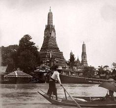 Thailand's past Circa 1900 Wat Arun from the Chao Phraya River #Bangkok