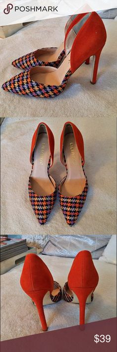 Orange and Purple Plaid Heels! 🍊💜 Brand-new, in the box. Heel measures approximately 4.25 inches. Liliana Shoes Heels
