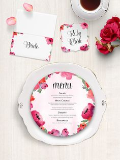 Red and pink Blooming Love Circle / DL Menu Card - Blooming Love Wedding Menus - Blooming Love Menu Cards by Paper Charms