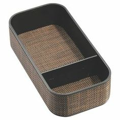 "Perfect for stowing cosmetics and jewelry on your vanity or nightstand, this stylish tray showcases an interwoven mesh trim and chic bronze finish.  Product: TrayConstruction Material: Mesh and plasticColor: BronzeFeatures: Two sectionsDimensions: 2"" H x 8"" W x 4"" D"