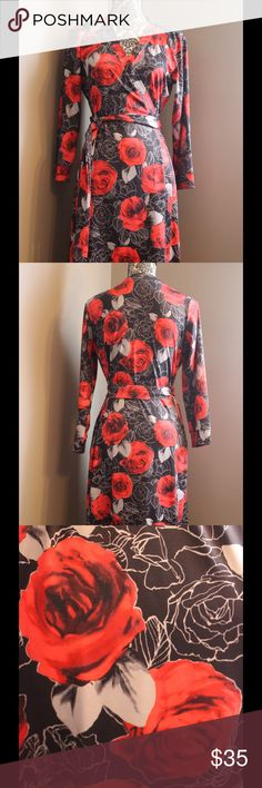NWOT Wendy Williams wrap dress, size M NWOT Wendy Williams wrap dress, 3/4 sleeve size M, black dress, red rose design Wendy Williams Dresses
