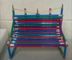 I recently had a project for my honors geometry students to complete. They were to create an item (artistic) that IKEA would want to purchase, or construct a model of a building that Chase Bank would want to purchase. This was one of the final products. He created a bench out of pencils. How clever and coloful!
