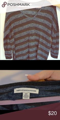 Navy and Black Striped Sweater Navy and black striped sweater from American Eagle. V-neck. American Eagle Outfitters Sweaters V-Necks
