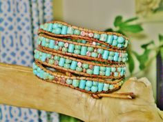 COPPER & TURQUOISE 4 Wrap Leather Bracelet with Good ol' Turquoise Gemstone and aged Picasso finish Czech/Japanese Beads,Copper Beads/Button...