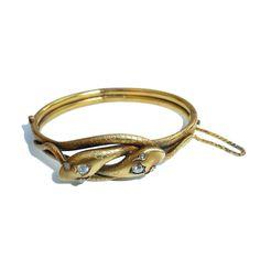 Victorian 15 Carat Gold Double Snake Bracelet With Diamond Detailing Circa 1860