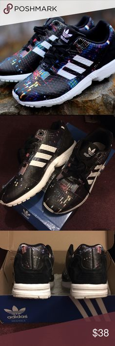 ADIDAS ZX FLUX Tokyo size 7.5 originals, black 9/10 condition. No rips or print cracks. Super comfortable and comes with original box ! Adidas Shoes Sneakers