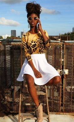 Photo - White skirt, panther top, glasses, locs hairstyle... - Black women Fashion&Hairstyles