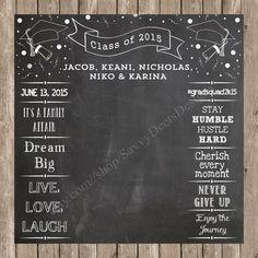 Complete Custom Chalkboard  Graduation Photo Backdrop Printable - Photobooth Backdrop
