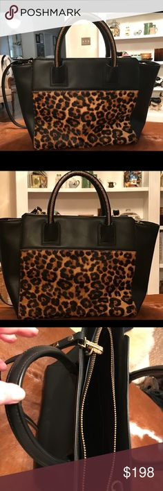 Chicest Leopard Bag New condition. Bought from Neiman Marcus. Can also use as a crossbody. Ponyhair on one side, black leather through out. Gold hand ware and zippers. Pretty much hold everything you need. Milly Bags Totes