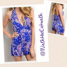 """Large Halter Neck Romper HALTER NECK GEO PRINT ROMPER  ⭐️ 96% POLYESTER 4% SPANDEX ⭐️Made in U.S.A. ⭐️Size: Large ⭐️Bust: 36"""" ⭐️Waist: 25-28"""" ⭐️Hips: 40"""" ⭐️Length: (from neckline to hem) 17.5-19"""" ⭐️NWOT directly from vendor   ✨10% off on 2 or more items✨. Interested in only 1 item? MAKE AN OFFER Remember to use the offer button! (Excluding sale items) Boutique Pants Jumpsuits & Rompers"""