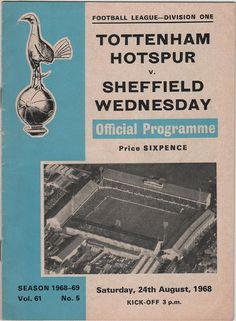 Vintage Football (soccer) Programme - Tottenham Hotspur v Sheffield Wednesday, 1968/69 season.