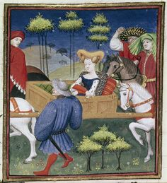 """Lady seated in a litter borne by two white horses, with male attendants. Christine de Pizan, 'Le Duc des vrais amants' in BL Harley MS 4431 fol. 153: """"The Book of the Queen"""" (various works), c. 1410-14 (Paris), made for Isabeau of Bavaria, Queen of France. Presented to her as a New Year's gift, Jan 1414. Later owned by John, Duke of Bedford; his wife, Jacquetta of Luxembourg; her son by her 2nd husband, Anthony Woodville, 2nd Earl Rivers; Louis de Gruthuyse; Henry Cavendish, duke of…"""
