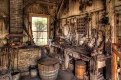 Picture of Old Blacksmith Shop in the American West stock photo, images and stock photography. Blacksmith Image, Blacksmith Workshop, Blacksmith Shop, Medieval, Photo Illustration, Blacksmithing, Royalty Free Photos, Metal Working, American Frontier