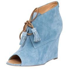 Pre-owned Dsquared2 Suede Peep-toe Luxury Designer Booties Size Us 9/... (16,950 INR) ❤ liked on Polyvore featuring shoes, boots, blue, blue ankle boots, lace up ankle boots, peep toe ankle boots, short suede boots and suede lace up boots