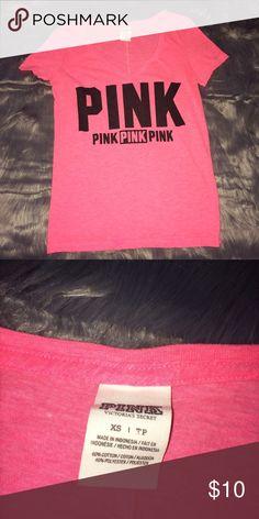 XS PINK TOP Xs, pink, VS PINK PINK Victoria's Secret Tops Tees - Short Sleeve