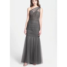 Amsale Mermaid Tulle Charcoal Grey Gown