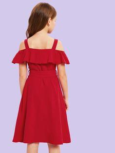 Girls Cold Shoulder Belted Dress – Ladys World of Fashion Belted Dress, Dress P, Ruffle Dress, Cute White Dress, Cute Girl Dresses, Elegant Girl, Natural Clothing, Cute Girls, Kids Outfits