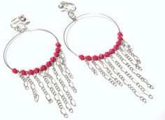 4 1/2 Silver Plated Pink Beaded Chained  Hoops by KorgisCreations