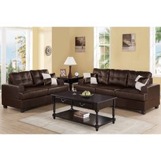 Enjoy A Living Space While Creating Comfortable Surroundings For Your Family  With This Sofa Set Covered In Soft Leather For A Textured Appearance.