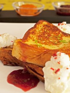 malted custard french toast with macerated cherries, pink peppercorn, and lime leaf cream from Jam in Chicago