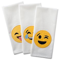 DII Cotton Embellished Emoji Dish Towels 18 x 28 Set of 3 Decorative Oversized Kitchen Towels for Everyday Cooking and BakingLaughing Emoji * Click image for more details. #KitchenHomeDecor