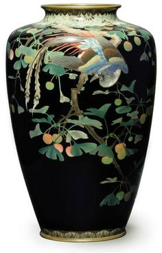 A Cloisonné Vase Meiji Period (late 19th century) Decorated in various thicknesses of silver wire and coloured cloisonné enamels with a peacock in a ginko tree, the neck and foot with brocade designs, copper gilt rims 25cm. high. Christies 2010 - £1,125.