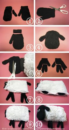 So you're wondering what to do with an unused faux-wool car wash mitt, an old pair of black fleece mitts, and an old pair of black chenille gloves (you're not alone,  it's been a confounding daily ponderable for me, too).  Well, with these items, you can make a new friend.
