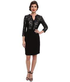 Quarter Sleeve Lace Detail Shift Dress Eliza J | 6pm.com