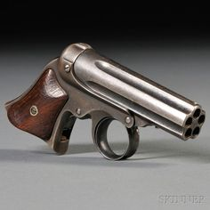 Remington-Elliot Five-shot Pepperbox Pistol, c. 1860s-1870s, walnut grips with steel frame marked on barrel MANUFACTURED BY E. REMINGTON & SONS, ILION, NY, ELLIOTS PATENTS MAY 29, 1860-OCT. 1, 1861, lg. 4 3/4 in.: