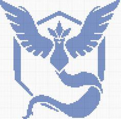 Pokemon Go Team Mystic cross stitch pattern 98x99 stitches