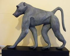 Bronze resin Wild Animals and Wild Life sculpture by artist Lucy Kinsella titled: 'Scout (life size bronze resin African Baboon Monkey sculpture/statue)'
